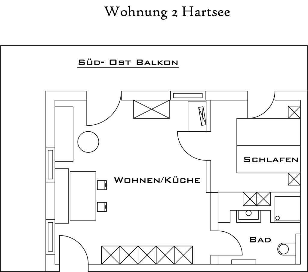 Layout apartment Hartsee at the Wimmerhof