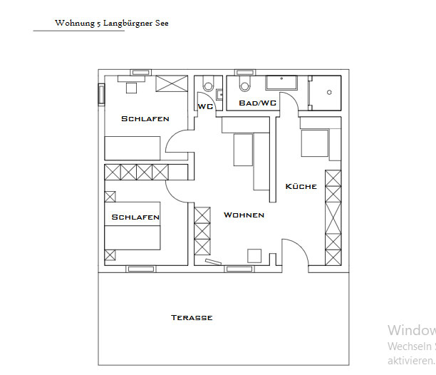 Layout apartment Langbürgener See at the Wimmerhof